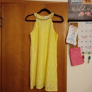 NWT Candies Halter Shift  Yellow Lace Dress